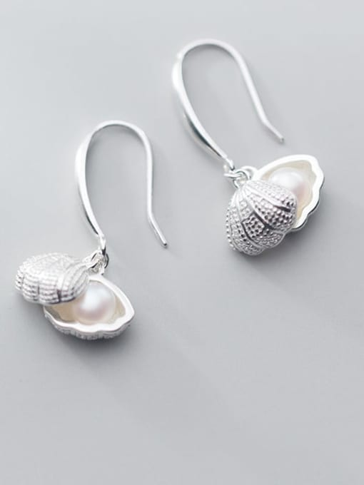 Rosh 925 Sterling Silver Imitation Pearl   Simple Fashion Shell Shape Hook Earring 3