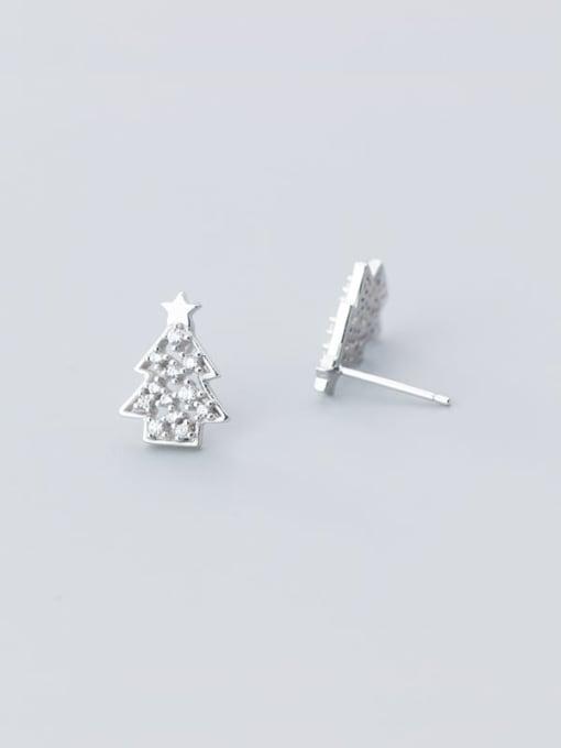 Rosh 925 Sterling Silver Rhinestone  Christmas tree Minimalist Stud Earring 2