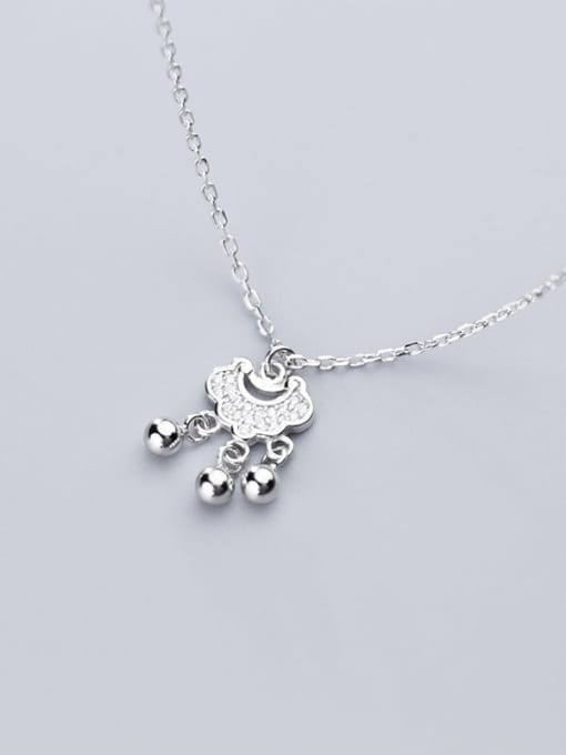 Rosh 925 Sterling Silver Cubic Zirconia  Simple fashion diamond long life lock  Necklace
