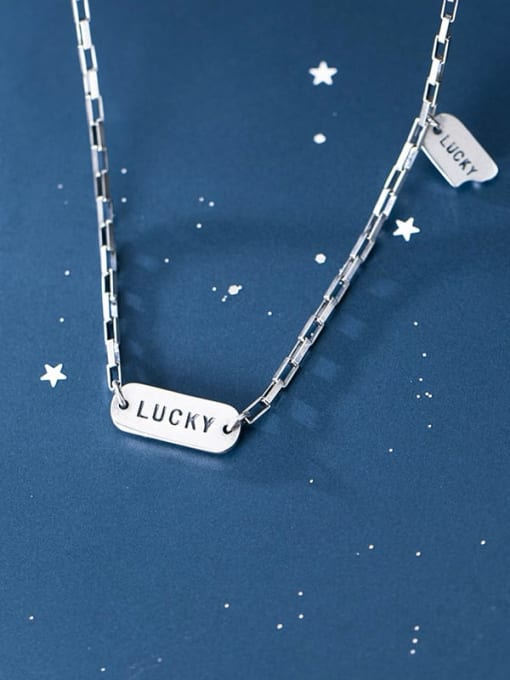 Rosh 925 Sterling Silver Simple fashion letters LUCKY square Necklace