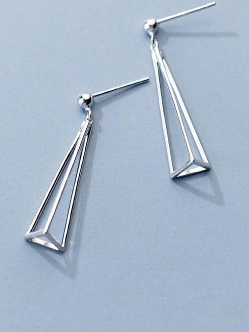 Rosh 925 Sterling Silver  Hollow Triangle Minimalist Drop Earring 0