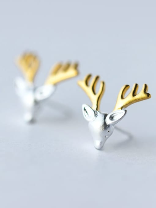 Rosh 925 Sterling Silver Deer Cute Stud Earring 1