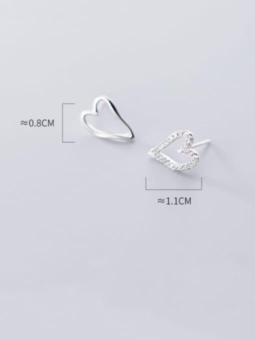 Rosh 925 Sterling Silver Simple asymmetric Hollow Heart Stud Earring 3