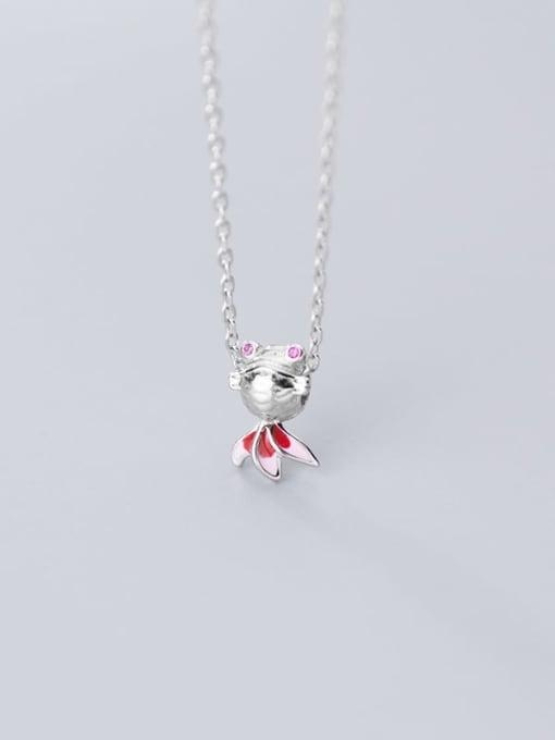 Rosh 925 Sterling Silver  Cute Diamond Gold Fish Pendant Necklace 2