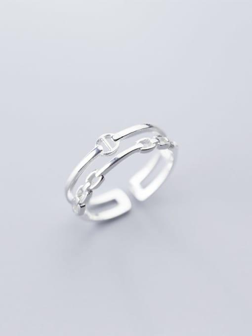 Rosh 925 Sterling Silver Hollow Geometric Minimalist Free Size Ring 0