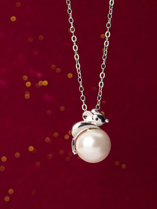 Rosh 925 Sterling Silver Imitation Pearl  Cute Mouse   Pendant   Necklace 1