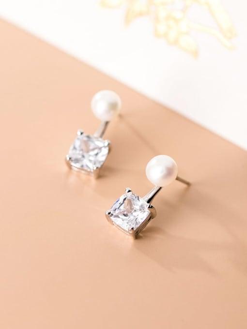 Rosh 925 Sterling Silver Cubic Zirconia  Square Minimalist Stud Earring 3