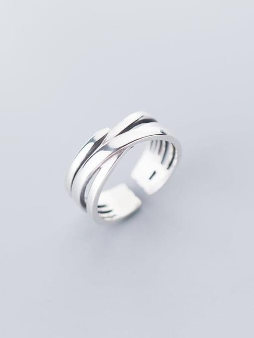 Rosh 925 Sterling Silver Irregular Minimalist Free Size Ring 0