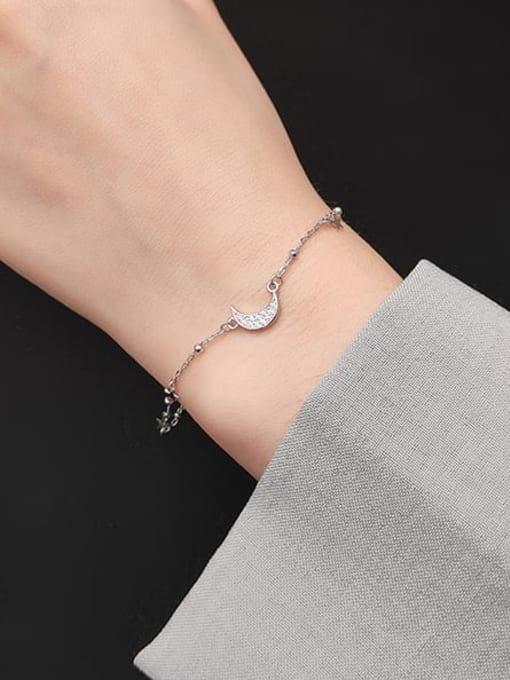 Rosh 925 Sterling Silver  Minimalist  Star Moon Link Bracelet 1