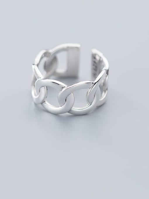 Rosh 925 Sterling Silver Hollow  Geometric Minimalist Free Size Band Ring 0