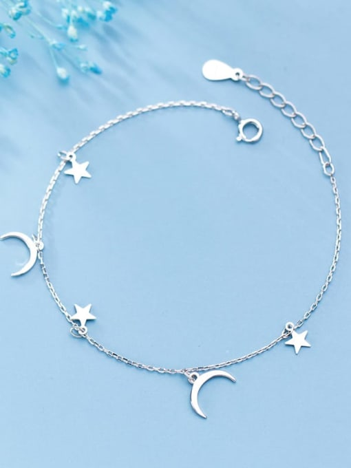 Rosh 925 Sterling Silver Simple Fashion Stars Moon Bracelet 0