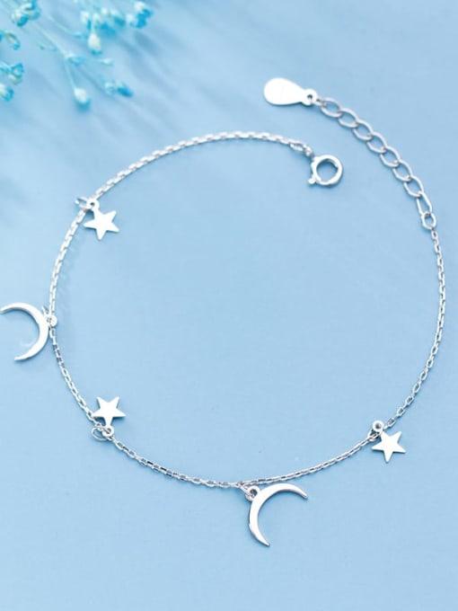 Rosh 925 Sterling Silver Simple Fashion Stars Moon Bracelet