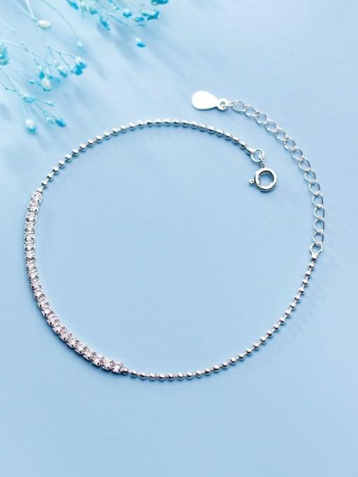 Rosh 925 Sterling Silver Cubic Zirconia  Square Minimalist Link Bracelet 3