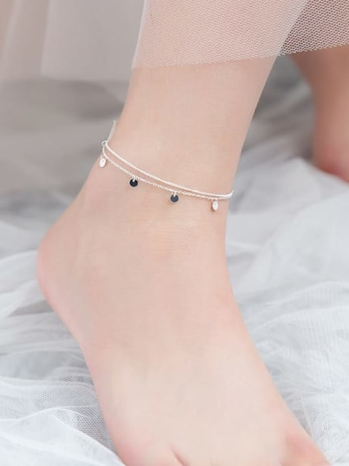 Rosh 925 Sterling Silver Round Minimalist Double layer  Anklet 2