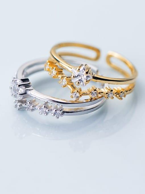 Rosh 925 Sterling Silver  Minimalist Diamond Double Pentagram Free Size Ring 1