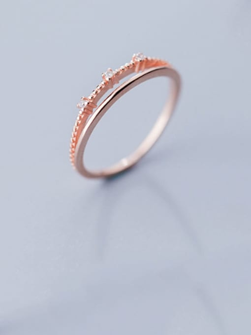 Rosh 925 Sterling Silver  Minimalist  Double-layer diamond Band Ring 0