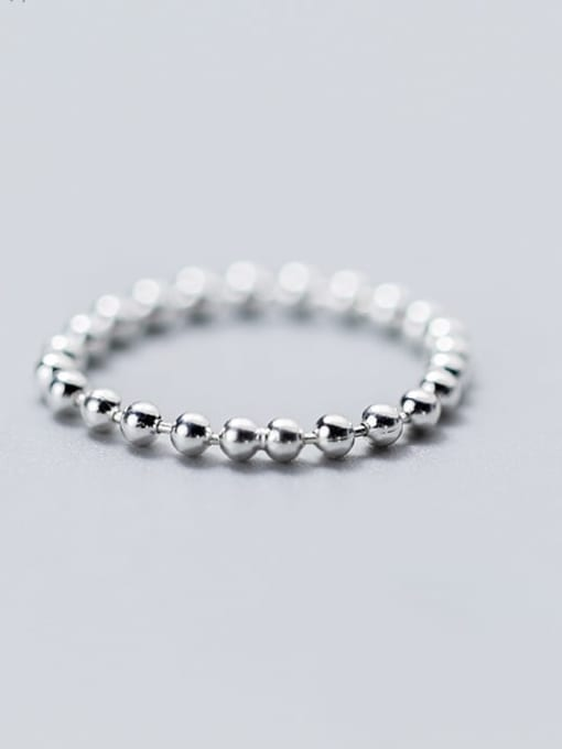 Rosh 925 Sterling Silver Minimalist Round  Bead Free Size Ring