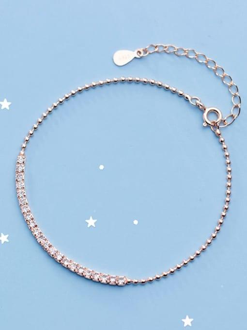 Rosh 925 Sterling Silver Cubic Zirconia  Square Minimalist Link Bracelet