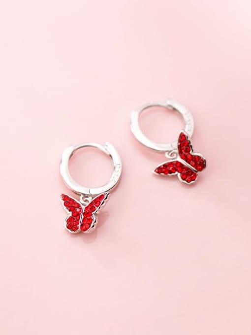 Rosh 925 Sterling Silver Rhinestone Red Butterfly Cute Huggie Earring