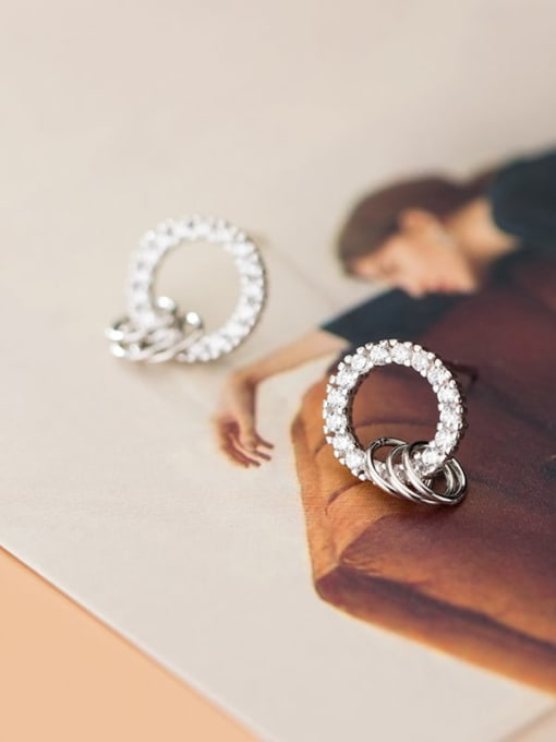 Rosh 925 Sterling Silver Cubic Zirconia  Round Minimalist Stud Earring 0