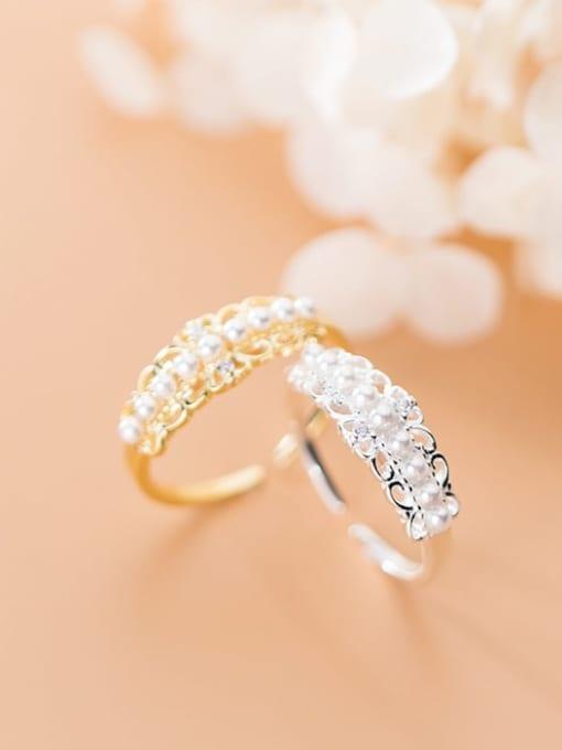 Rosh 925 Sterling Silver Imitation Pearl White Irregular Cute Free Size Ring
