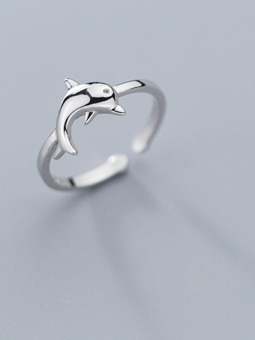 Rosh 925 Sterling Silver  Cute  Dolphin  Free Size Ring 0