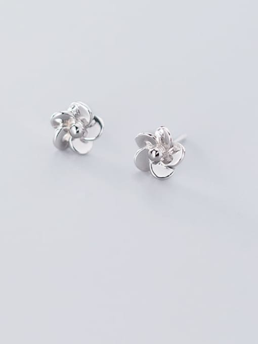 Rosh 925 Sterling Silver Rhinestone Flower Minimalist Stud Earring 2
