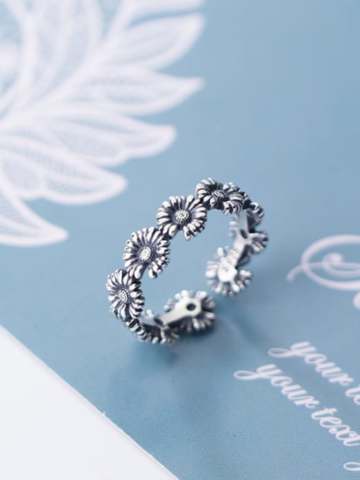 Rosh 925 Sterling Silver Flower Vintage Free Size Band Ring 2