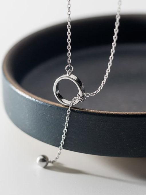 Rosh 925 Sterling Silver Hollow Round Minimalist Tassel  Necklace 3