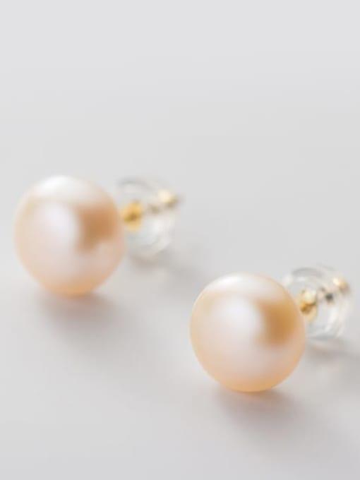 pink Orange Pearl  gold 8- 9MM 925 Sterling Silver Freshwater Pearl  Round Minimalist Stud Earring