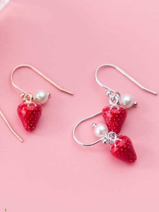 Rosh 925 Sterling Silver Imitation Pearl Friut  Strawberry Minimalist Hook Earring