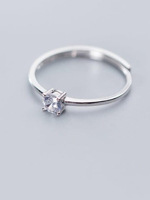 Rosh 925 Sterling Silver Rhinestone  Round Minimalist Free Size Ring 1