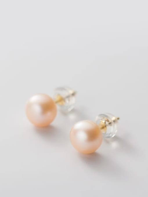 Pink Orange Pearl  Gold 6 -7MM 925 Sterling Silver Freshwater Pearl  Round Minimalist Stud Earring