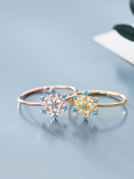 Rosh 925 Sterling Silver Cubic Zirconia Multi Color Flower Minimalist Band Ring