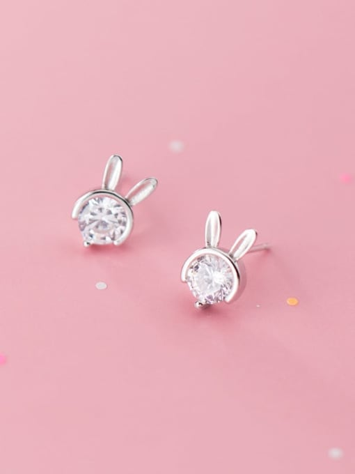 Rosh 925 sterling silver single diamond cute little rabbit Earrings 1