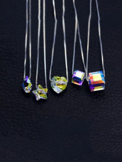 Rosh 925 Sterling Silver  Austrian crystal shiny colorful pendant Necklace