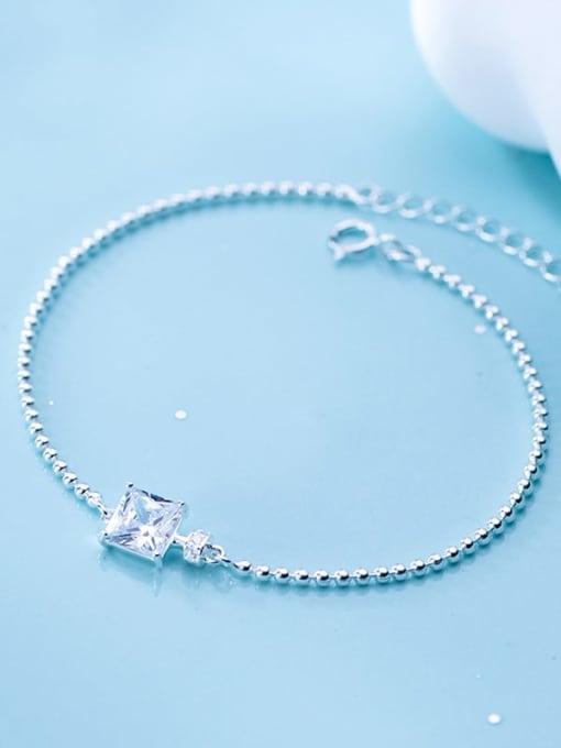 Rosh 925 Sterling Silver Cubic Zirconia White Square Minimalist Beaded Bracelet 3