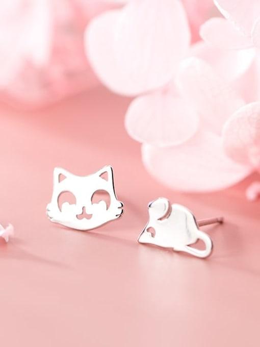 Rosh 925 Sterling Silver Minimalist  Cat mouse Asymmetry Stud Earring 1