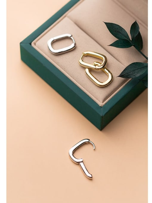 Rosh 925 Sterling Silver  Smooth Geometric Minimalist Huggie Earring 1