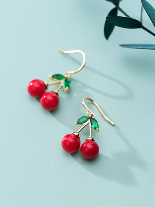 Rosh 925 Sterling Silver Red Enamel Cute Cute golden cherry Drop Earring