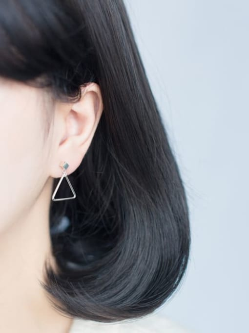 Rosh 925 Sterling Silver Hollow Triangle Minimalist Drop Earring 1