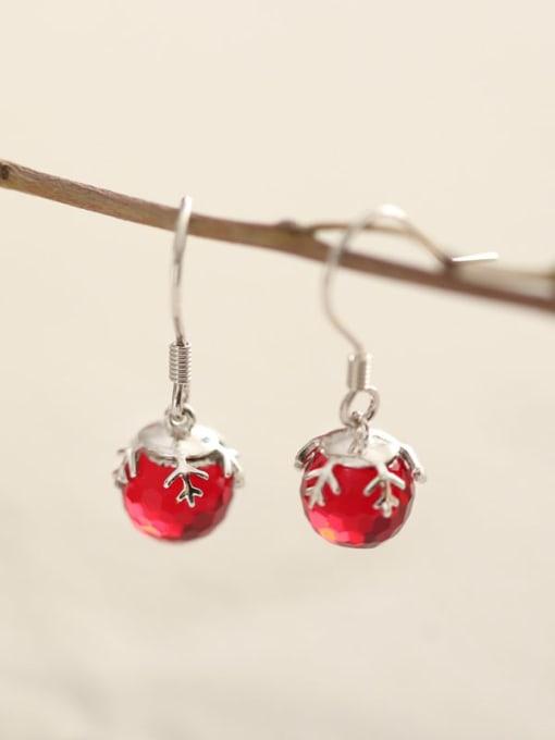 Rosh 925 Sterling Silver  Red Ball Vintage Hook Earring