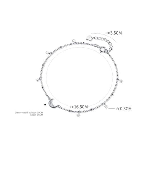 Rosh 925 Sterling Silver  Minimalist  Star Moon Link Bracelet 4