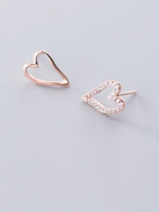 Rosh 925 Sterling Silver Simple asymmetric Hollow Heart Stud Earring 0