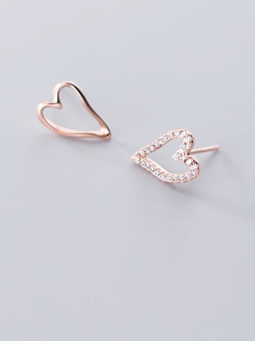 Rosh 925 Sterling Silver Simple asymmetric Hollow Heart Stud Earring