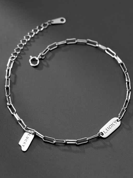 Rosh 925 Sterling Silver Simple square brand letters LUCKY chain bracelet 1