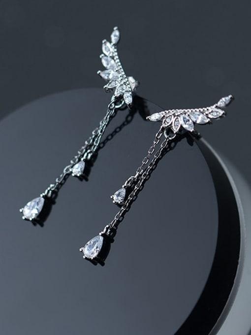 Rosh 925 Sterling Silver Cubic Zirconia Wing  Tassel Dainty Stud Earring 2