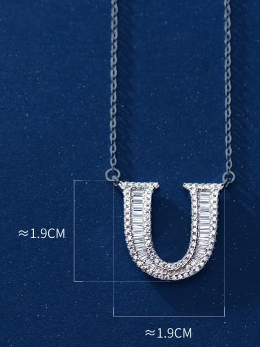 letter U 925 Sterling Silver Simple Fashion full diamond letters pendant  Necklace