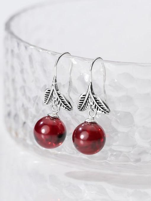 Rosh 925 Sterling Silver Garnet Red Leaf Vintage Hook Earring 2