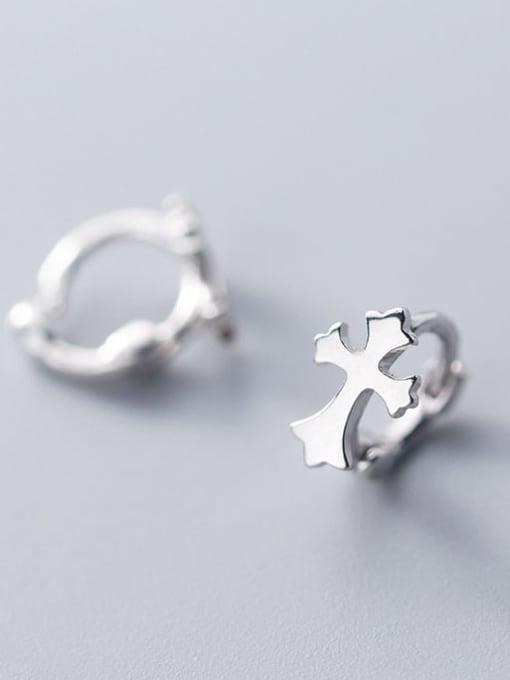 Rosh 925 Sterling Silver  Minimalist Smooth Cross Huggie Earring 0